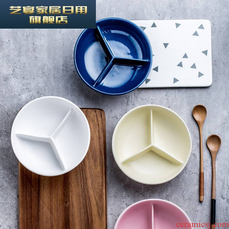 Yx may express it in baby household ceramic creative means to use bowl dish dish separated three children snack breakfast tray