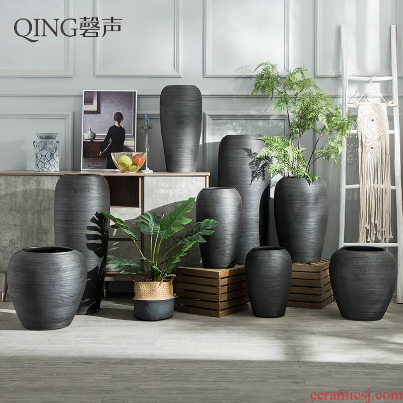 Jingdezhen ceramic vase sitting room place of large vases, flower arranging extra large hotel decorative pottery basin of restoring ancient ways