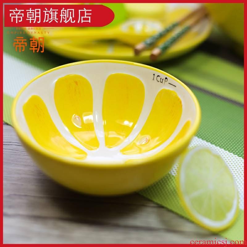 Lovely fruit bowl hand - made ceramics lemon salad bowl bowl dessert bowls of rice bowls watermelon children consisting of tableware