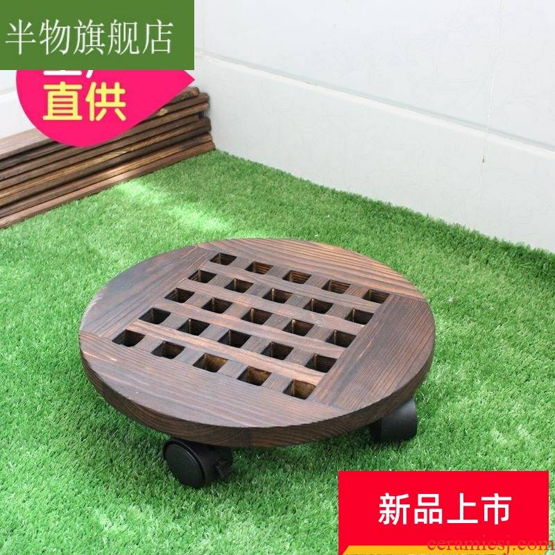 Circular tray wanxianglun movable flowerpot flower solid carbide brake roller chassis base