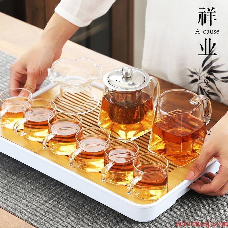 Kung fu tea cup set high borosilicate glass auspicious industry household heat contracted sitting room Japanese small set of teapot