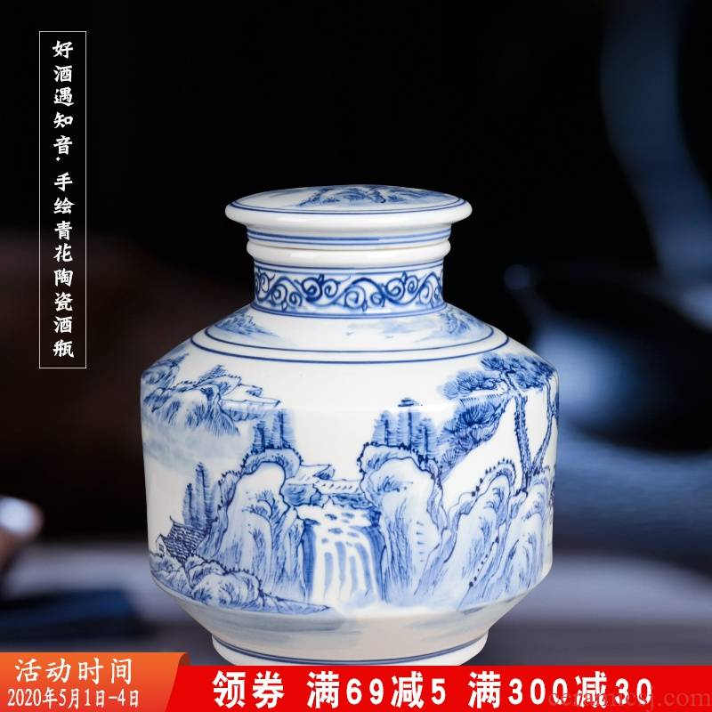 Five good big just 10 jins mercifully hip decorative painting painting jars of blue and white porcelain bottle wine jar