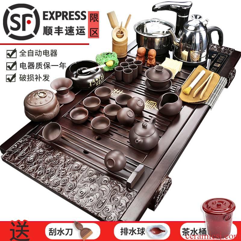 Porcelain heng tong tea sets tea purple sand pottery and Porcelain of a complete set of kung fu tea set automatic water tea home ground