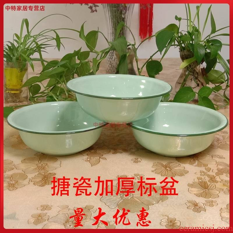 Fruit - green nostalgic enamel basin of the high - quality goods only to use package mail full 10 soup pot enamel POTS rice basin were old