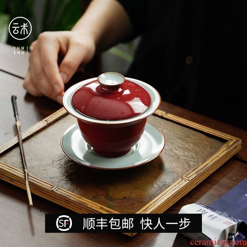 Cloud jingdezhen manual ji red your up operation three tureen slicing can only keep ceramic tureen tea bowl of kung fu