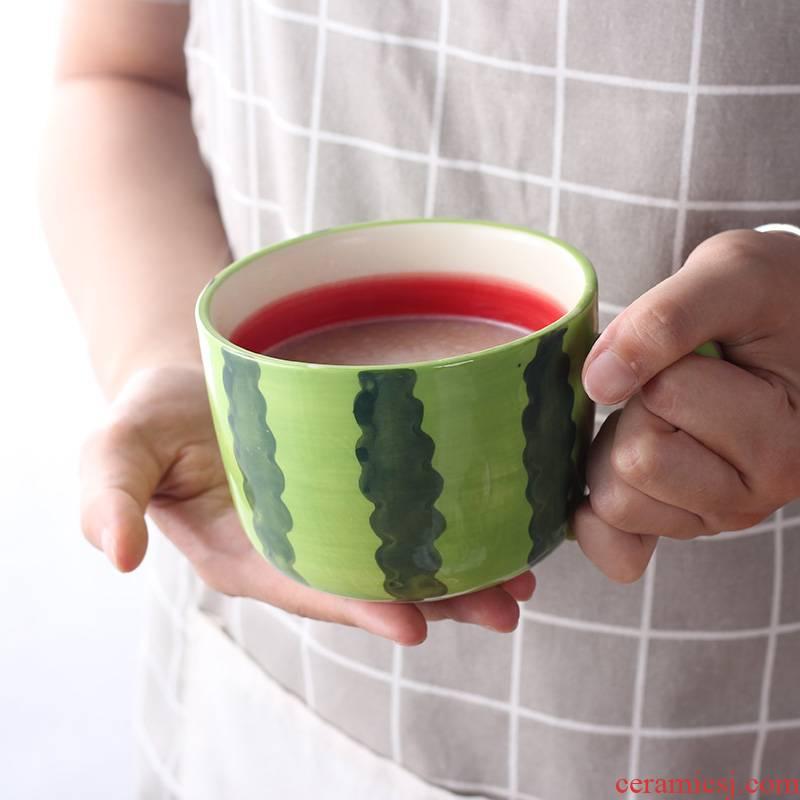 Korean cartoon ceramic fruit breakfast cup, lovely move trend in household water cup children 's creative milk cup