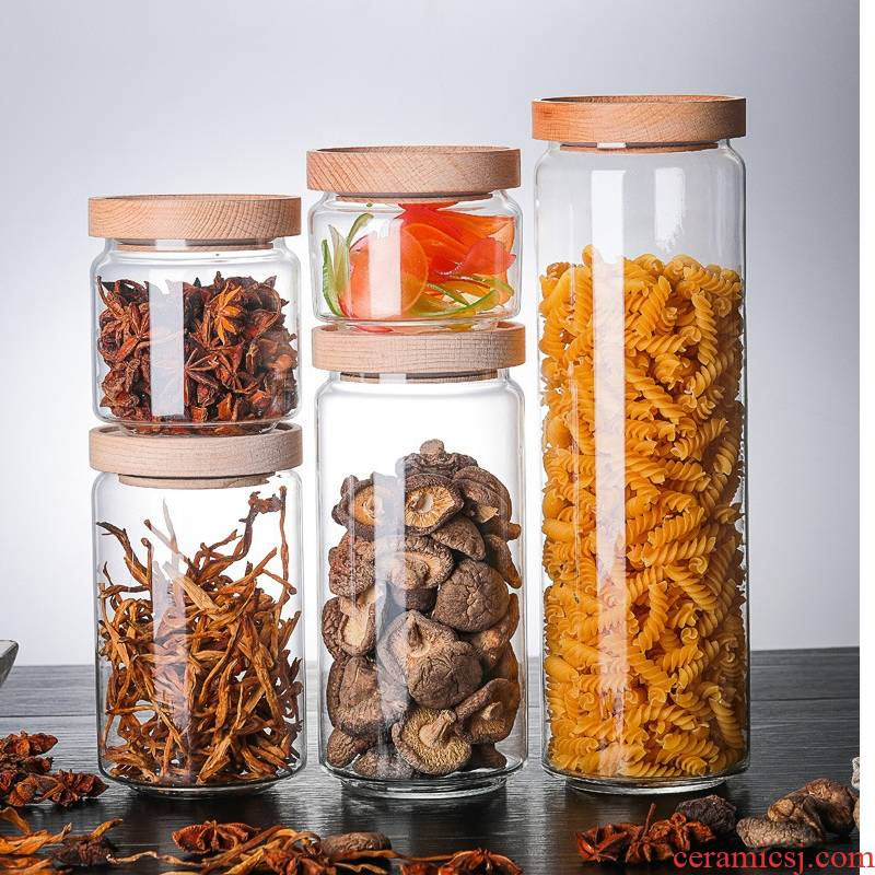 Royal pure Japanese acacia wood cover glass storage tank snack dried fruit candy seal pot caddy fixings is received