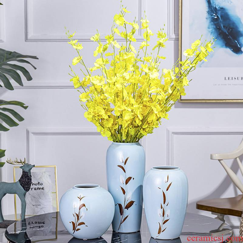 Mesa of new Chinese style originality can hydroponics simulation floral decoration ceramic vase furnishing articles flower TV ark