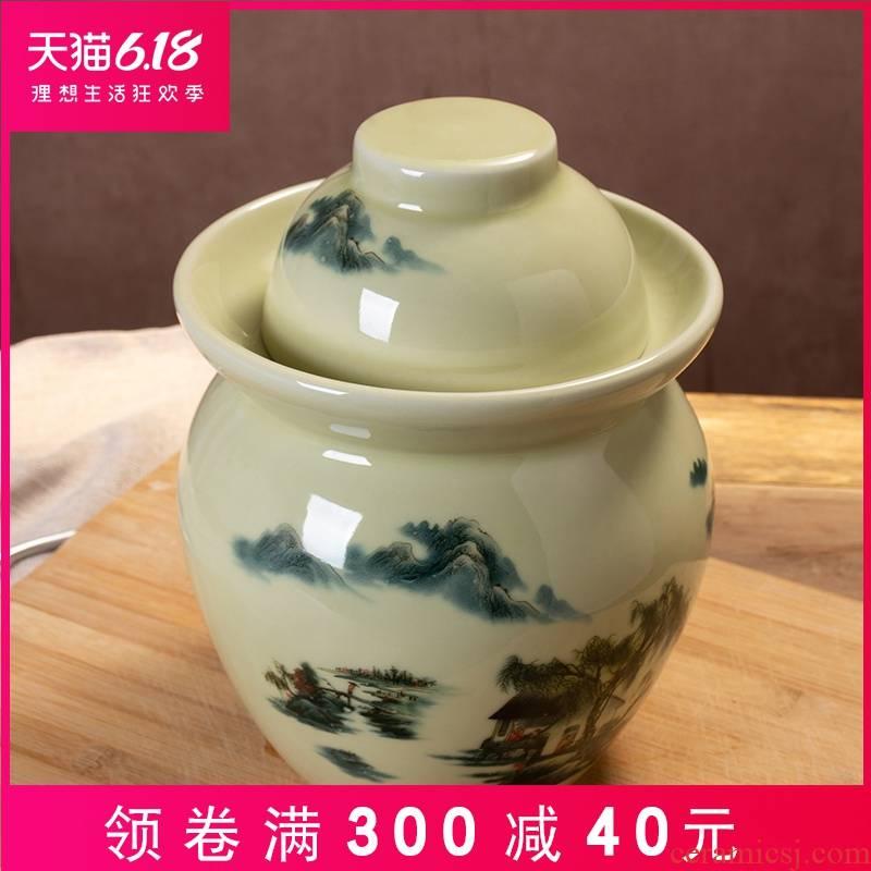 Jingdezhen ceramic household pickle jar sauerkraut small salted duck dense eggs in the old seal moisture POTS sugar pot