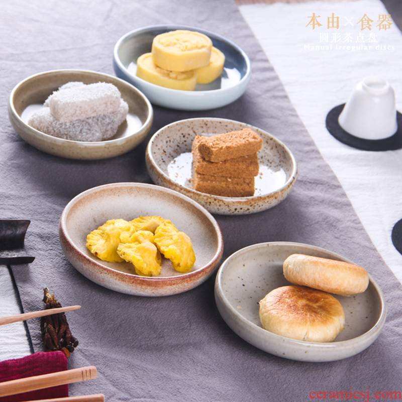 Jingdezhen coarse pottery tea saucer dessert plate your up spot dried fruit snacks flavor dish of Japanese small plate plate plate