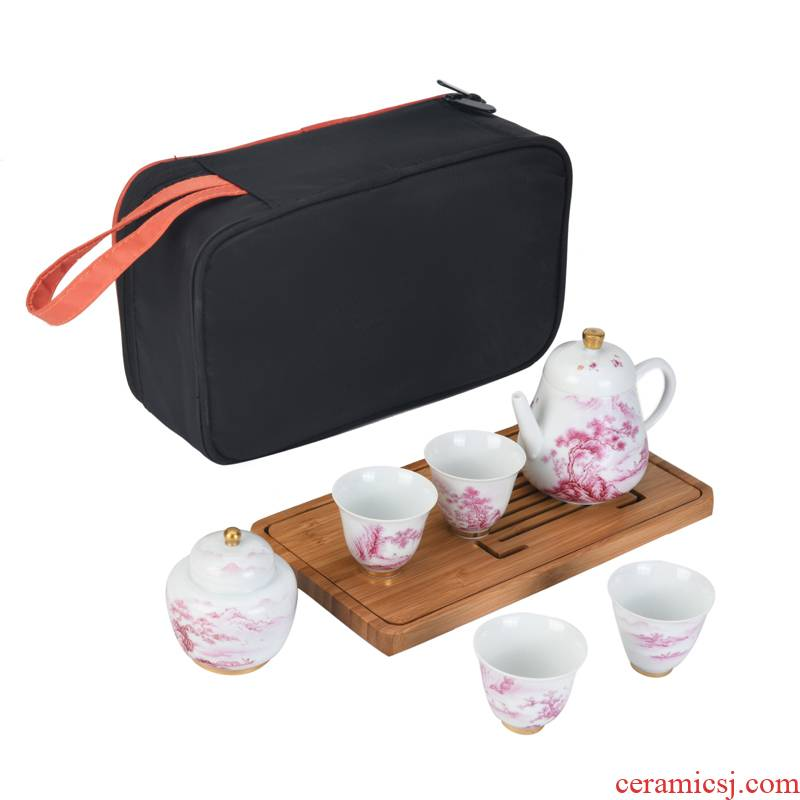 Travel kung fu tea set manual tire agate hongshan xu ink ink color hand - made paint portable a pot of four cups