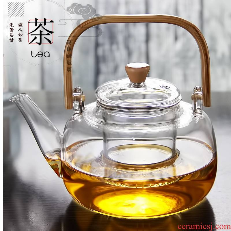 Royal pure Japanese boiling kettle filter glass tea, high temperature resistant to burn pot of tea to the girder