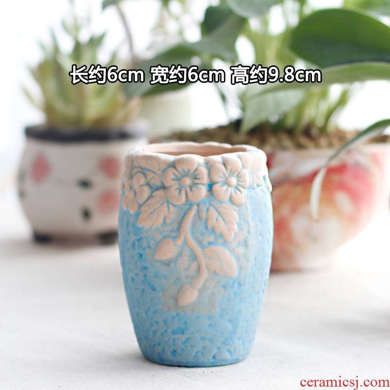 Package mail promotion green plant basin of creative move marca dragon meat more coarse tao zhuang zi flowerpot biscuit firing breathable ceramic flower pot