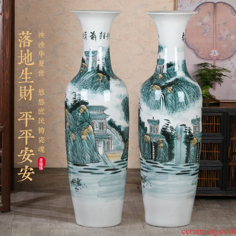 Jingdezhen ceramic hand - made of large Chinese blue and white porcelain vase hotel decoration office furnishing articles large living room