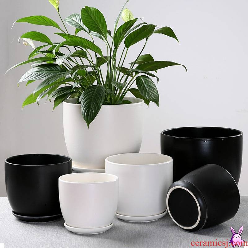 Xi ou buy flowerpot ceramic sale household size extra large tray with simple small flowerpot more than other meat