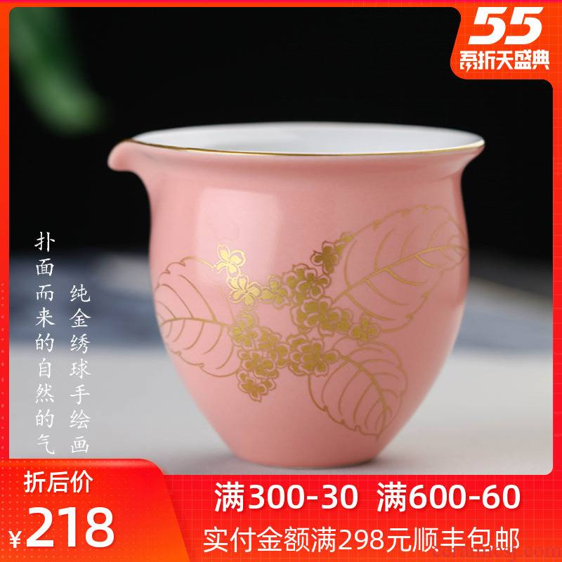 Bright tastes all hand - made gold picture fair keller jingdezhen kung fu tea set heat a large portion of a single well cup of tea