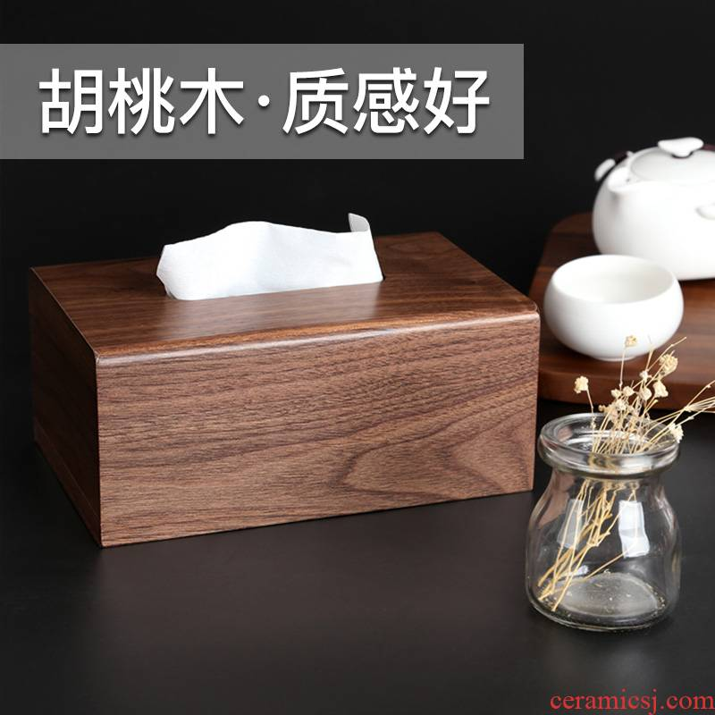 Paper suction box of Chinese wood furniture tissue box bedroom household contracted sitting room tea table restaurant wooden carton