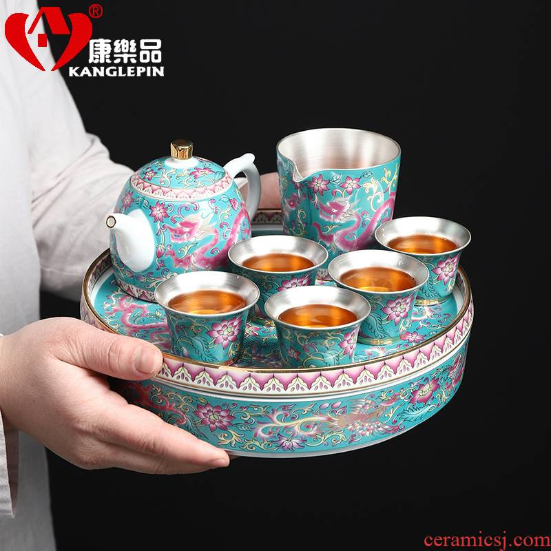 Recreation of kung fu tea tea family tea tray was round ceramic colored enamel coppering. As silver sea 999 dry mercifully tea