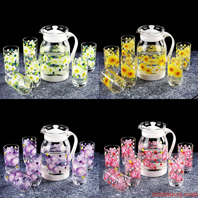 Y Korean domestic cold water kettle printing with seven large capacity suit glass teapot explosion - proof high heat to hold