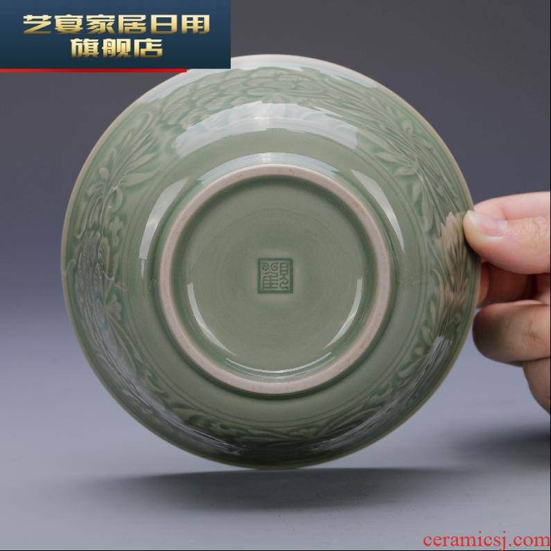 6 BWG view restoring chongyang celadon peony of bowl yao state up household of Chinese style restoring ancient ways is 5.5 inch bowl rainbow such as bowl soup bowl