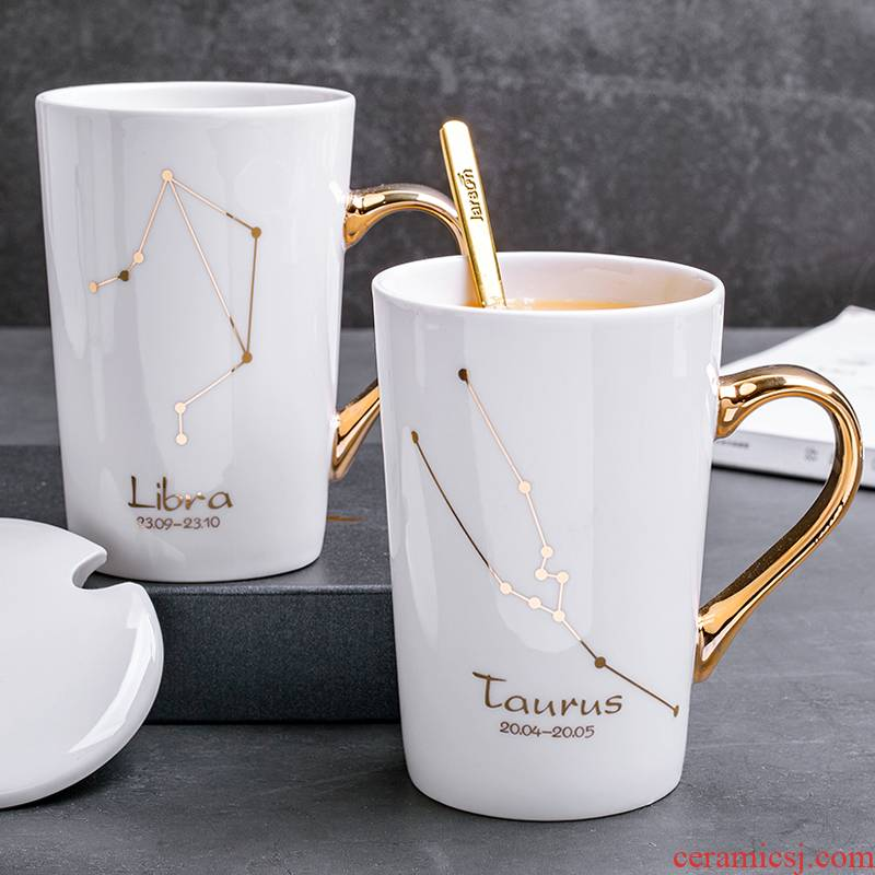 Creative contracted constellation ceramic keller with spoon, individuality tide water cup men 's and women' s household lovers coffee cup