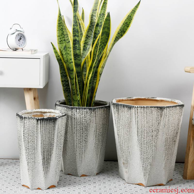 Plant trees flower pot ceramic oversized bag mail anise polyhedral high yard ground tiger orchid wholesale ceramic flower pot