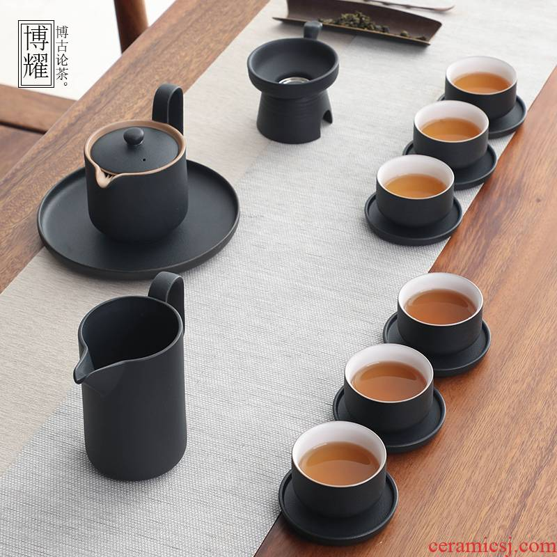 Bo yiu-chee retro coarse pottery kung fu tea set contracted household ceramics hand grasp the teapot tea set gift boxes