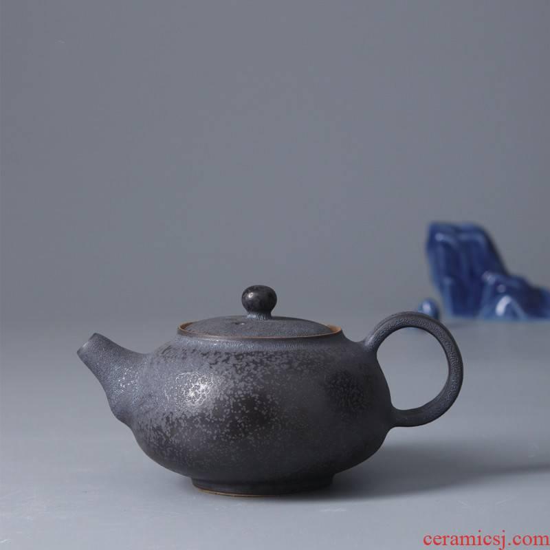 Poly real jingdezhen scene all hand iron black glaze small Japanese JianChan wind ceramic teapot tea pot of kung fu tea set