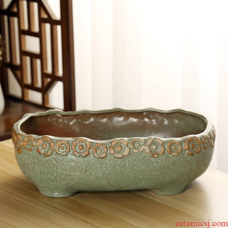 Period of large diameter fleshy flowerpot coarse pottery breathable combination flesh POTS of super - sized platter creative move