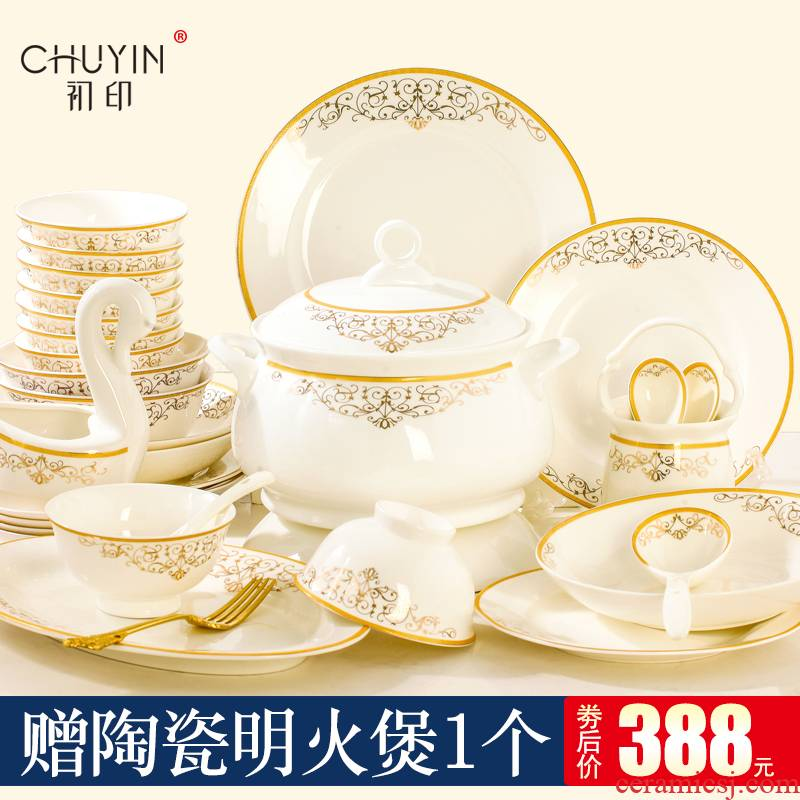 Dishes suit household European creative jingdezhen ceramic tableware ceramics bowl bowl plate combination of up phnom penh