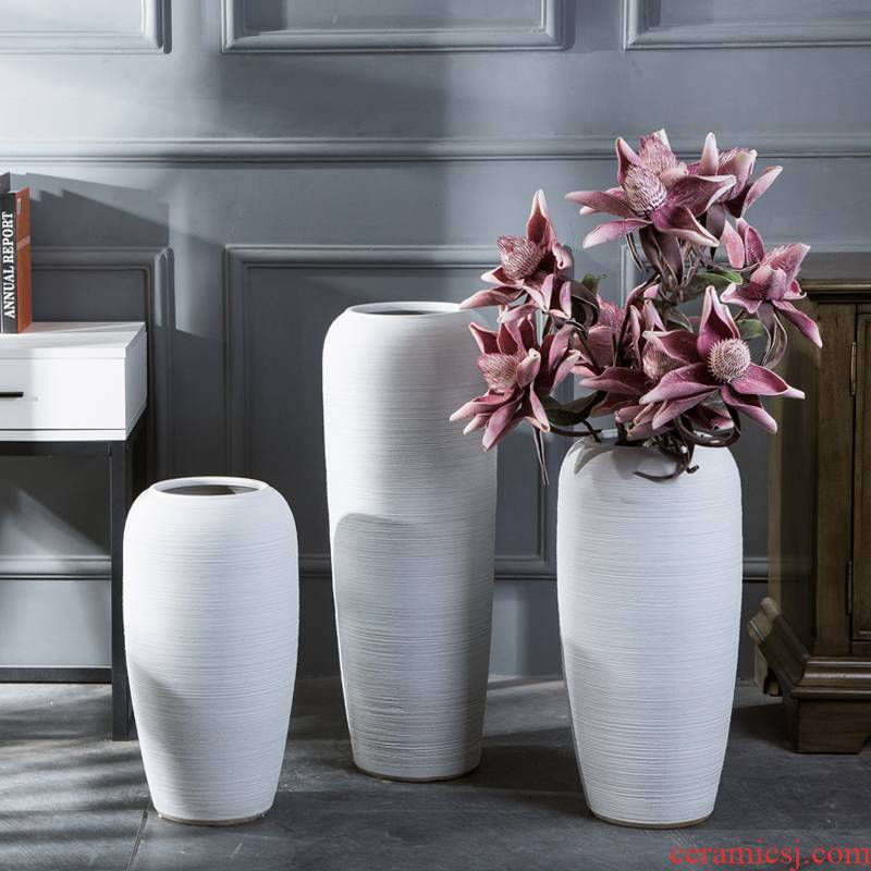 I and contracted white ceramic vase continental sitting room dried flowers, Nordic household adornment flower arranging hotel furnishing articles