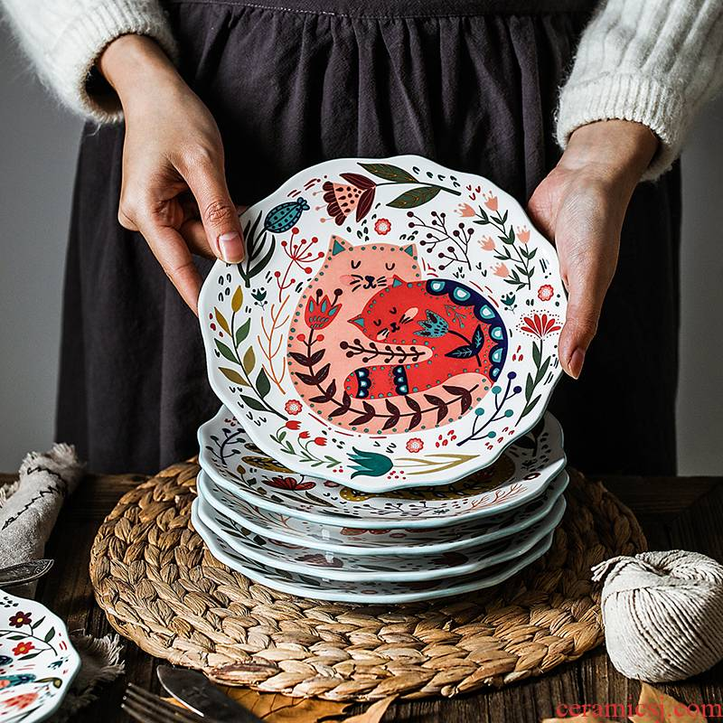 Boreal Europe style originality hand - drawn cartoon cat 0 8 inches snack plate flat the household ceramic plate