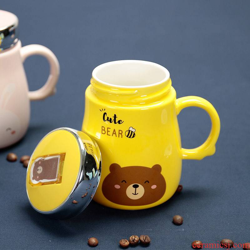 Office keller cup cartoon phone support to ceramic cup with cover teaspoons of household water cup couples cup