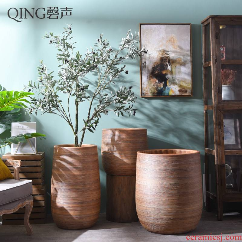 Retro ceramic vase Nordic contracted large caliber dry flower arranging flowers, green plant furnishing articles sitting room big villa garden flowerpot