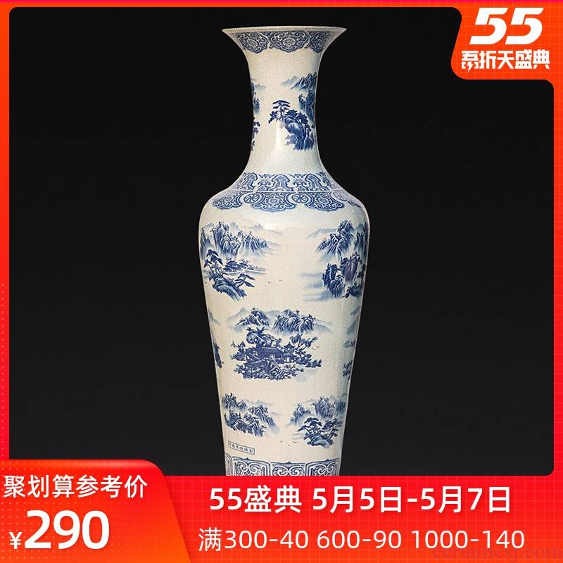 Jingdezhen ceramics landing large vases, antique landscape on crack of blue and white porcelain glaze furnishing articles sitting room adornment