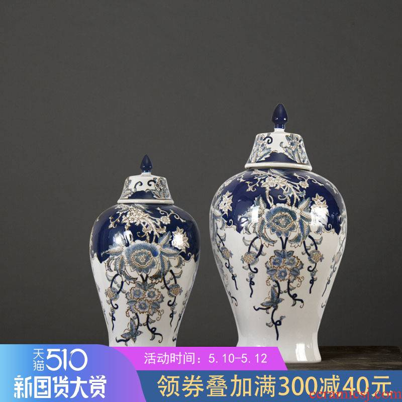The rain tong household general | pot - bellied of blue and white porcelain jar jar marriage home furnishing articles ornaments of jingdezhen ceramic decoration blue and white