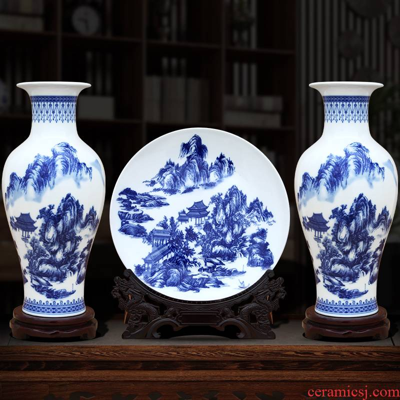 Jingdezhen blue and white porcelain vase three - piece ceramic furnishing articles sitting room TV ark of the sitting room porch handicraft ornament