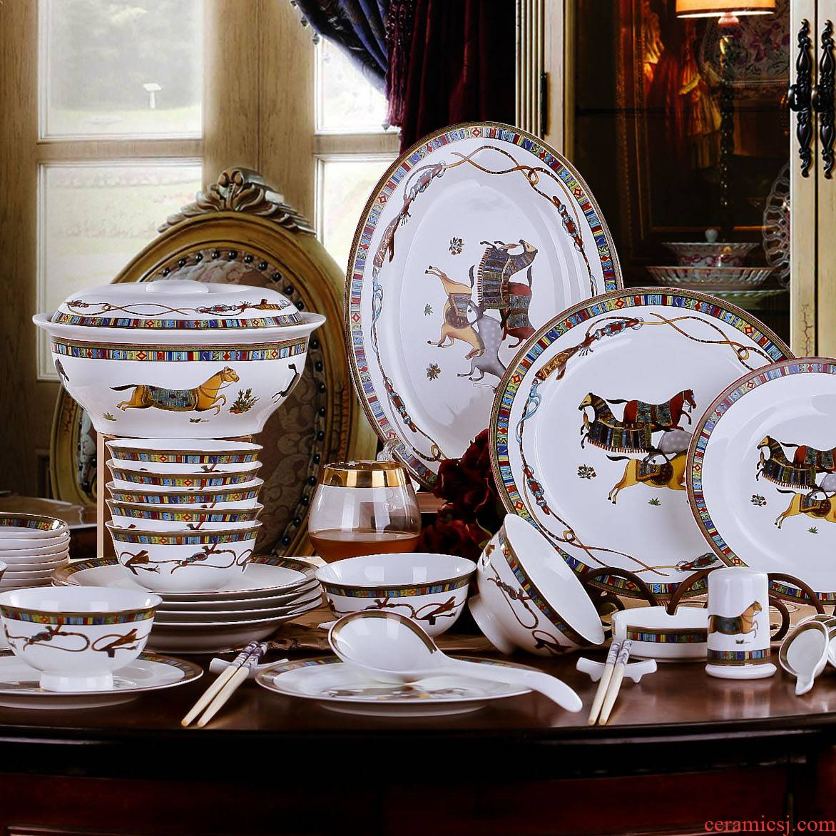 Treasure dishes dishes household of Chinese style ceramic tableware suit at the South Pole plate composite ipads China gift boxes/European bowls bowl