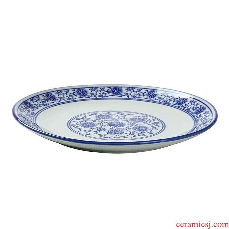 Shallow law school branch lotus archaize roundel snacks cold dish of blue and white porcelain plate of 5 to 18 inches of ceramic plate hotel tableware