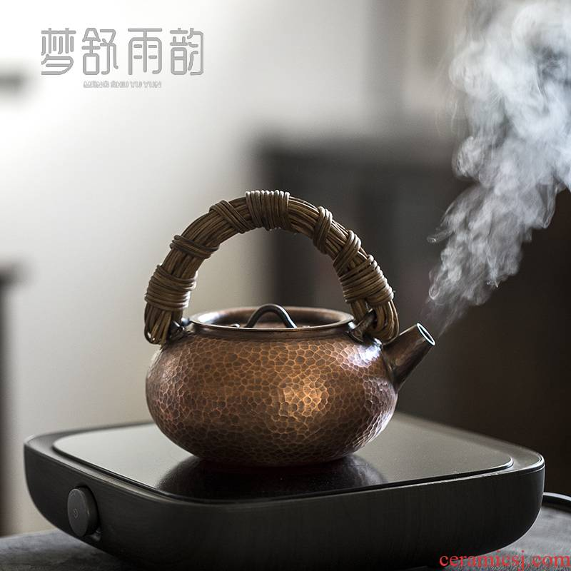 Dream ShuYu rhyme pure manual the cane top service up copper to burn pot of boiled tea teapot Japanese household kung fu retro girder