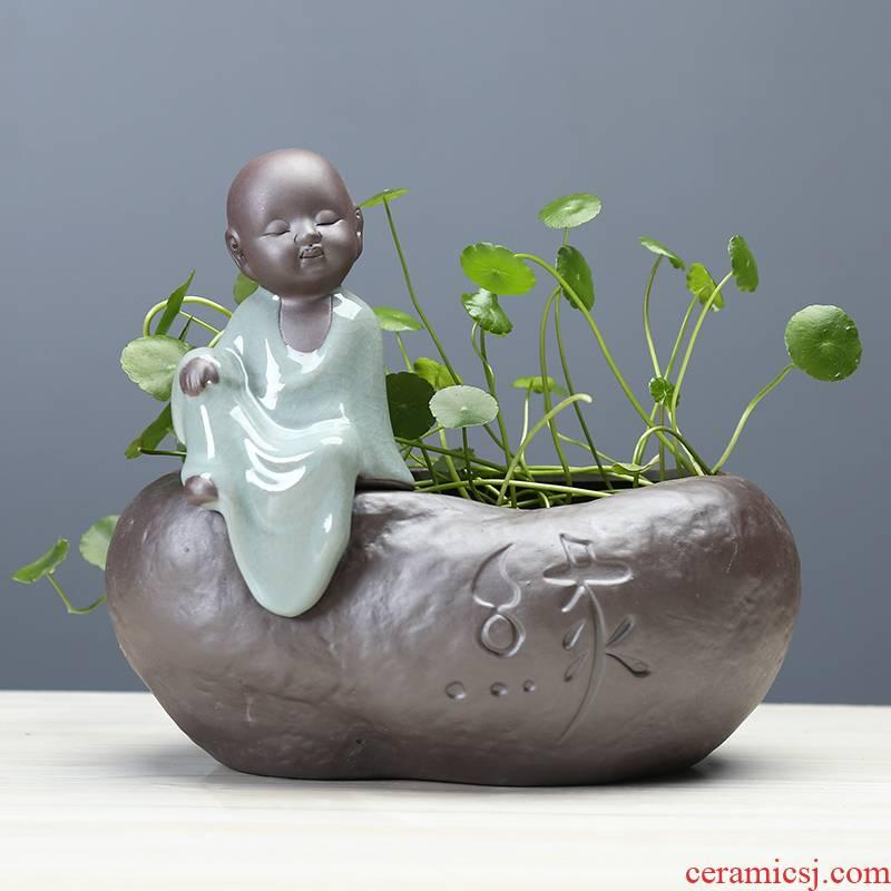 Chinese zen desktop hydroponic ceramic vase desktop young monk violet arenaceous water raise money plant plant pot vessel