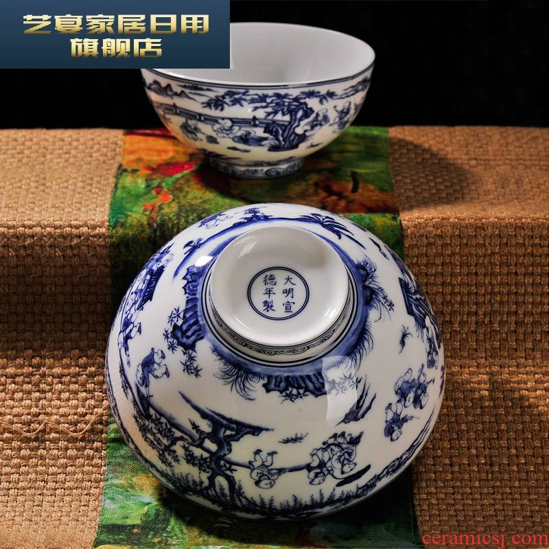 3 hx figure of jingdezhen blue and white porcelain baby play checking ceramic bowl rainbow such use tableware suite instant noodles bowl big meal