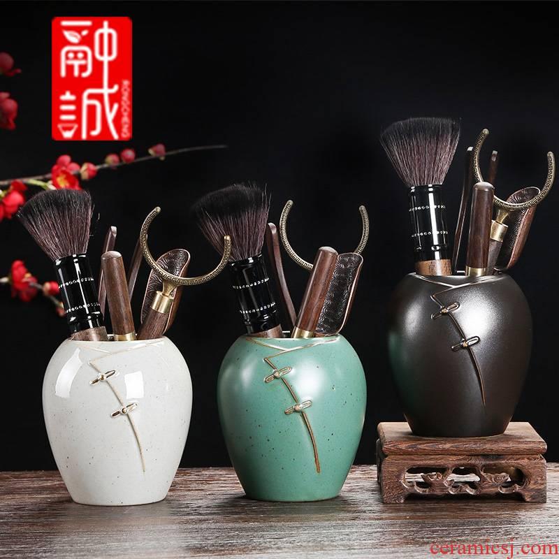 Tea six gentleman 's suit household bamboo wood receive tube ebony kung fu Tea accessories ceramic Tea set