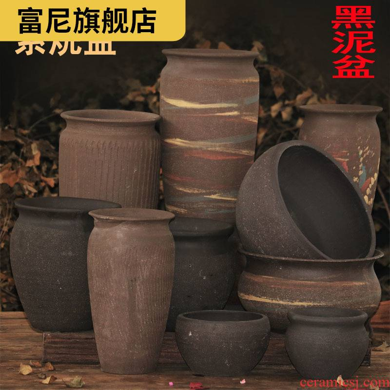 Rich, flowerpot breathable big green plant ceramics made of baked clay thick fleshy high biscuit firing bracketplant flowerpot in the pottery pot