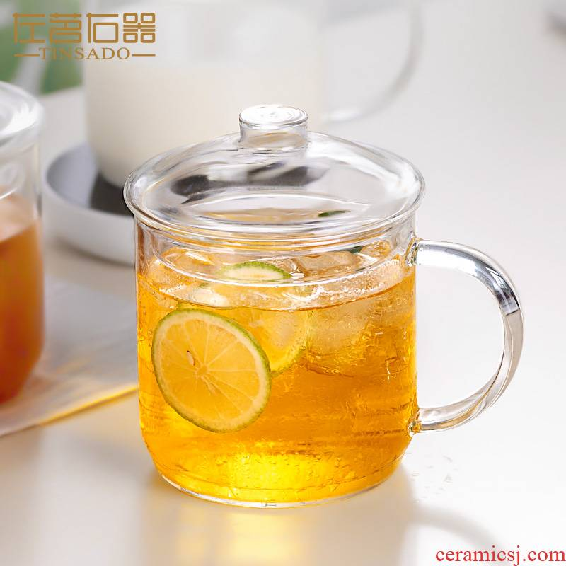 ZuoMing right implement large capacity with cover glass cup water cup home take more hot breakfast cup of milk