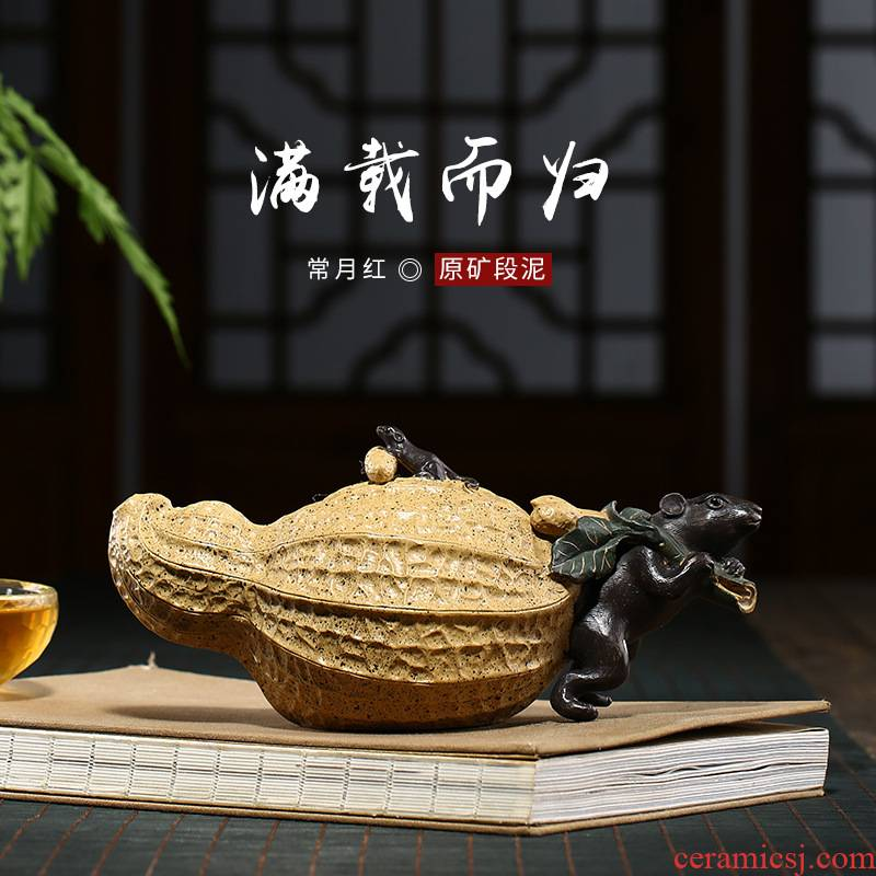 Yixing xu ink all hand undressed ore creative period of red mud fill their carts are it, on peanut gift the teapot