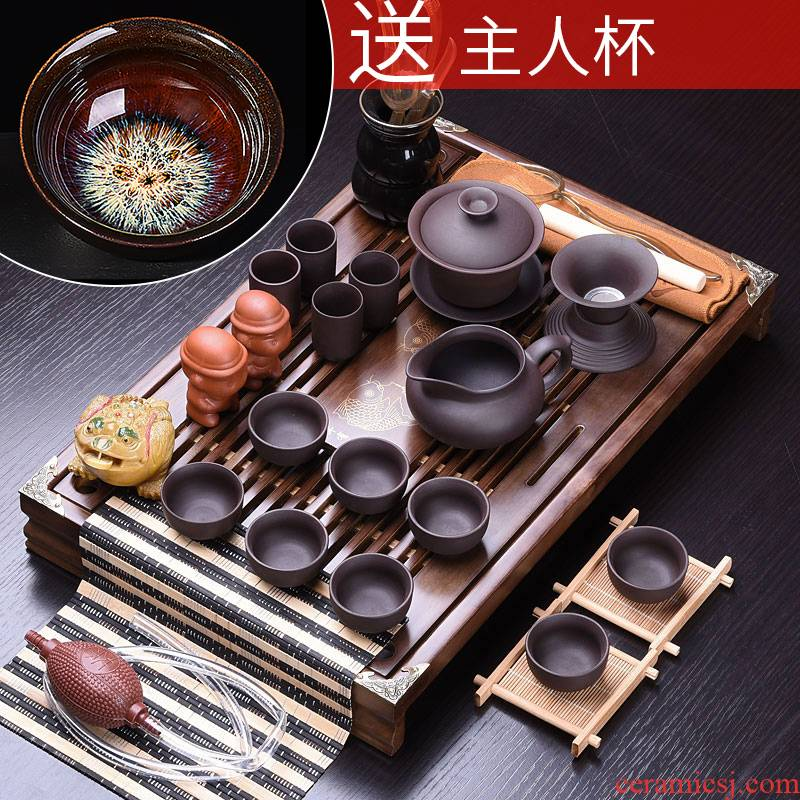 HaoFeng tea set suit household teapot kung fu tea set household purple sand tea sets tea taking of a complete set of solid wood tea tray