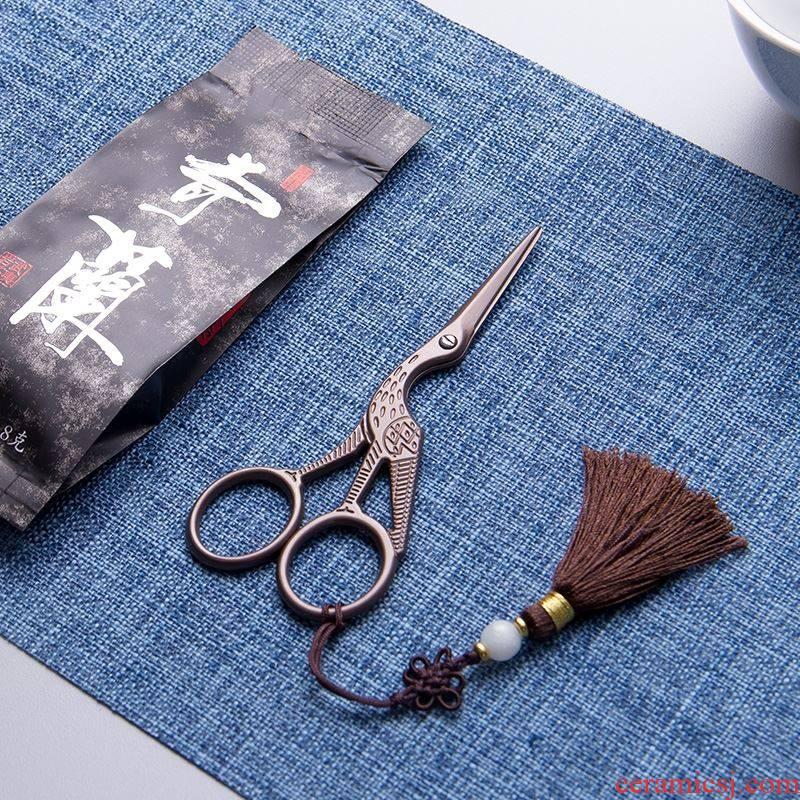 The Small scissors, household Small beautiful tea bag retro delicate European standard crane tea tea accessories Japanese