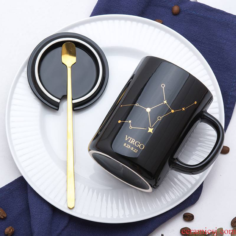 Creative trend ins ceramic mark cup with cover spoon couples move milk ultimately responds a cup of coffee home men and women