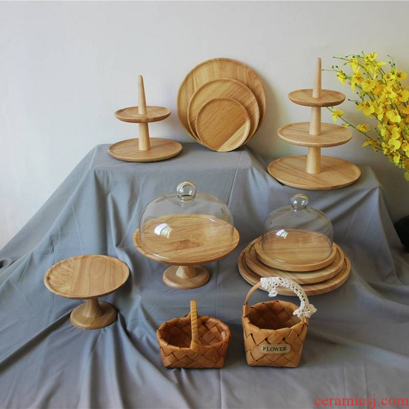 Sen wooden dessert Taiwan display suit afternoon tea heart stand tall cake tray rotating the glass